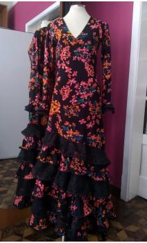 Floral Black Long-Dress 6 Ruffles w/Lace