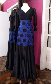 Royal Blue w/Black Long-Skirt Extra Godet