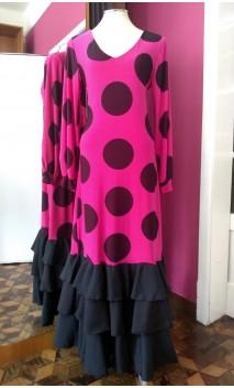 Vestido Pink c/Bolas 3 Babados