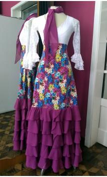 Printed Long-skirt w/5 Light Purple Chiffon Ruffles w/Scarf