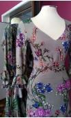 Conjunto Saia e Blusa Bege Floral