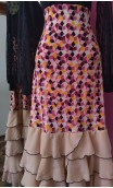 Printed Long-skirt w/5 Beige Chiffon Ruffles w/Scarf