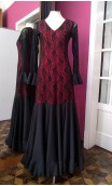 Vestido Preto e Vermelho Godê c/Renda