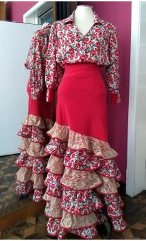 Conjunto Saia e Camisa Vermelho Floral c/Renda Bege