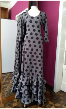 Grey w/Polka-dots and Flowers Long-Dress 3 Ruffles