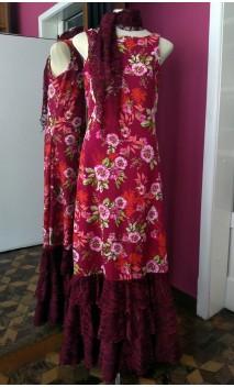 Floral Burgundy Long Dress 3 Ruffles w/Scarf