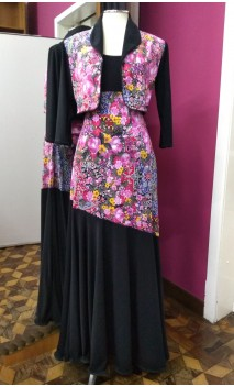 Black w/Floral Skirt & Jacket Set