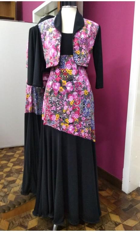 Conjunto Saia e Blazer Floral c/Preto