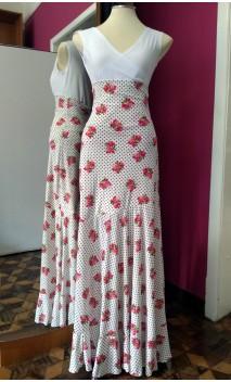 Falda Blanca Floral Godet c/Lunarcitos