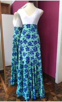 Light Green w/Blue Flowers Godet Long-Skirt