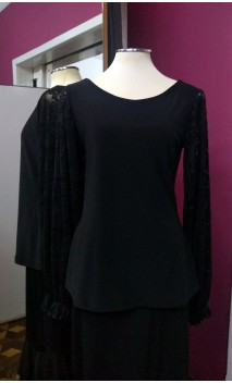 Black Top w/Lace Sleeves