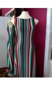 Striped Long Dress 4 Ruffles w/Scarf