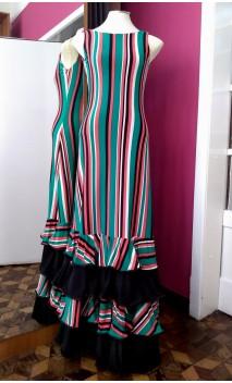 Vestido a Rayas 4 Volantes c/Pañuelo