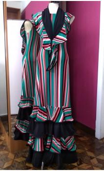 Vestido Listado 4 Babados c/Lenço