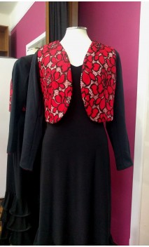 Black Torera Jacket w/ Red Lace