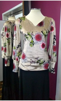 Blusa Terciopelo Beige Floral