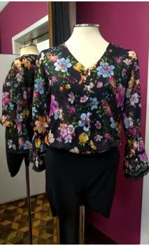 Camisa-Shorts Preto Floral Manga Bufante