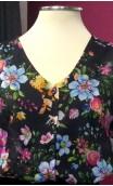 Floral Black Puffy Sleeves Leotard-Shirt