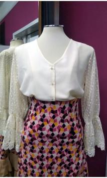 Camisa-Shorts Marfim Manga Bufante