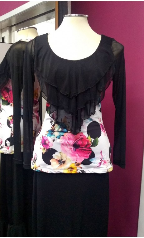 Flowers & Polka-dots White Top w/Black Tulle