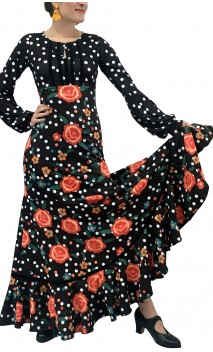Printed Nora Godet Long Dress