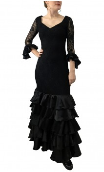 Noir Lace Long-Dress 5 Ruffles