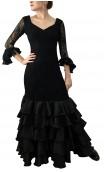 Vestido de Encajes Noir 5 Volantes
