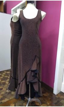 Vestido Negro c/ Dorado c/ Pasamanería