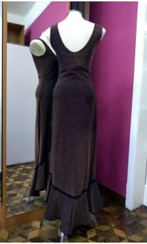 Black w/Gold Long-Dress w/Trim Detail