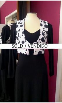 White w/Black polka-dots Mini-Vest