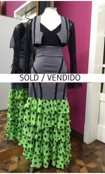 Black Vest & Long-skirt 5 Green w/Polka-dots Chiffon Ruffles Set