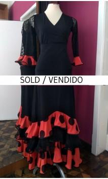 Conjunto Falda & Blusa Negro c/Naranja