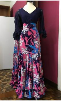 Floral Pink & Blue Long-Skirt Extra Godet
