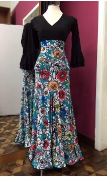 Floral Teal Green Long-Skirt Extra Godet