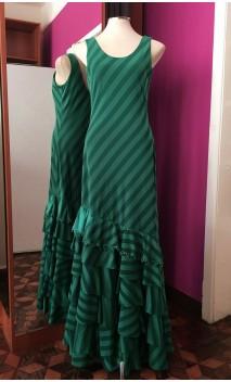 Vestido a Rayas Verde 6 Volantes