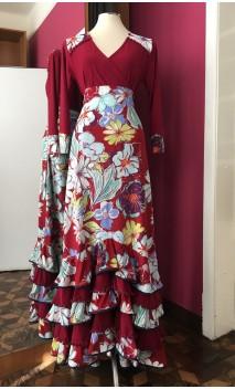 Floral Burgundy Skirt & Blouse Set