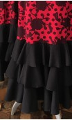 Printed Red Long-Dress 4 Ruffles