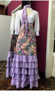 Printed Long-skirt w/5 Lilac Chiffon Ruffles w/Scarf