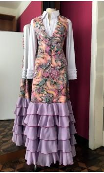 Printed Vest & Long-skirt w/5 Lilac Chiffon Ruffles Set