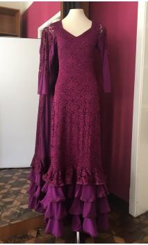 Purple Lace Long-Dress 4 Ruffles