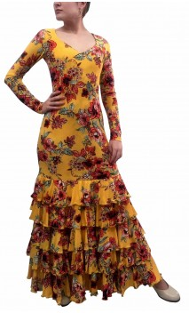 Printed Candida Long Sleeves Long-Dress 5 Ruffles