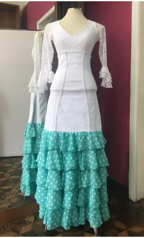 White Long-skirt w/ Green w/White Polka-dots Chiffon Ruffles