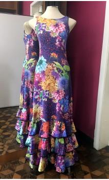 Printed Purple Long Dress 3 Ruffles