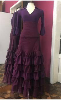Falda de Color Morado 6 Volantes Tul