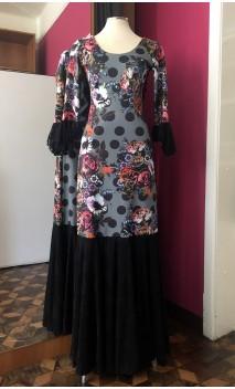 Grey Long Dress w/ Polka-dots & Flowers & Black Lace