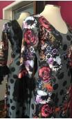 Vestido Cinza c/Bolas e Flores c/Renda Preta
