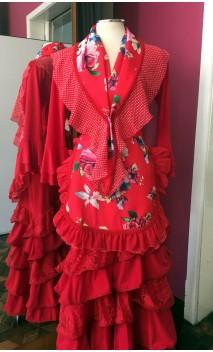Conjunto Delantal y Pañuelo Rojo Floral
