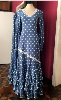 Blue w/White Polka-dots Long-Dress