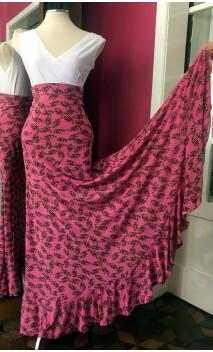 Floral Light Rose Godet Long-Skirt