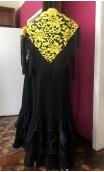 Yellow Lace Shawl w/7.9'' fringe